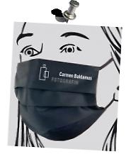 Individueller Mund-Nase-Maske-Firmen-Logo-Druck der >Fotografin C. Baldamus< Flexfolie